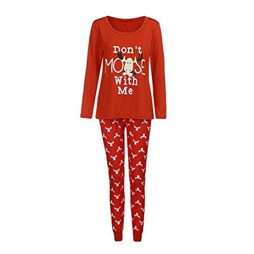 Pyjama Set für die Familie,Moonuy Herbst / Winter Heißer Mann Familie Passenden Weihnachten Pyjamas Set Frauen Kid Erwachsene PJs Nachtwäsche Beiläufige Nachtwäsche 1 * Bluse + 1 * hosen (Mama, S) (Hose Pjs Nachtwäsche)