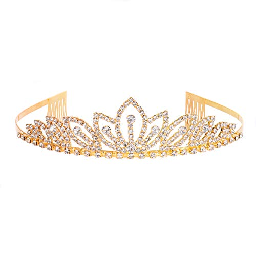 RIVERTREE Gold Costume Princess Crown with Comb Pin for Girls & Women Crystal Bridal Wedding Tiara