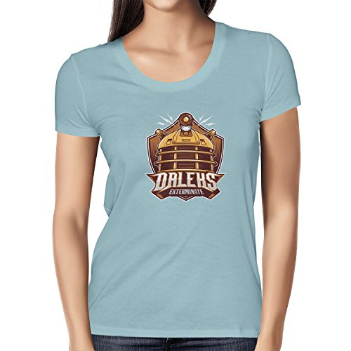 NERDO - Daleks Exterminate - Damen T-Shirt Hellblau