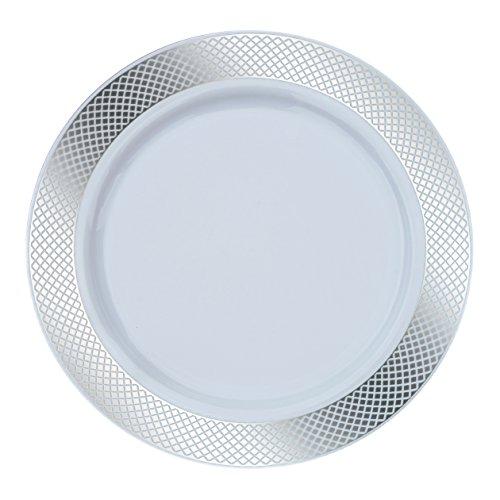 Decorline- Crystal Diamond Collection Vaisselle de luxe à usage unique-Party-Jetable-Bord en argent -plastique rigide -10 pièces (Assiette 23 cm)