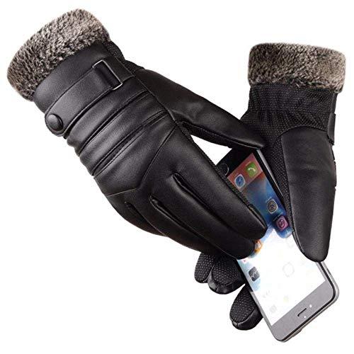 AJMS Guanti da Uomo Lunghi in Pelle Guanti Touchscreen Caldi Guanti Impermeabili Guanti Riscaldati Abbigliamento da Moto Inverno B