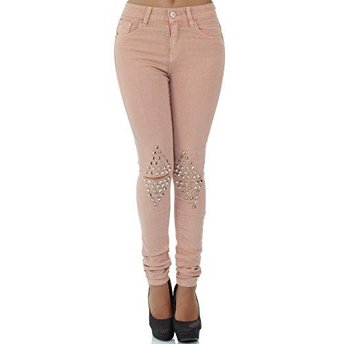 malucas Damen Jeans High Waist Hose Röhrenjeans Skinny Röhrenhose Slim Fit Stretch, Größe:36, Farbe:Rosa (Rosa Stretch-jeans)