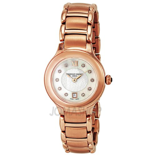 Frederique Constant Delight White Dial Rose Gold Plated Stainless Steel Ladies Watch FC-220WHD2ER4B