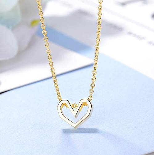 XMDNYE Hohl Liebe Herz Anhänger Halsketten Einfache Winzige Silber Gold Farbe Charme Halsketten Kette Schmuck Geschenk für Frauen Mädchen collares - Winzige Gold-charme-halskette