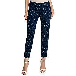 oodji Collection Mujer Pantalones de Algodón Estrechos, Azul, ES 38 / S