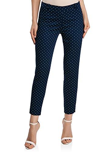 oodji Collection Mujer Pantalones de Algodón Estrechos, Azul, ES 40 / M