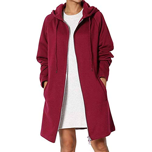 iHENGH Damen Herbst Winter Bequem Lässig Mode Frauen Mode Frauen Loose Fit Pocket Hoodie Langarm Sweatshirts Mantel schlank Mantel