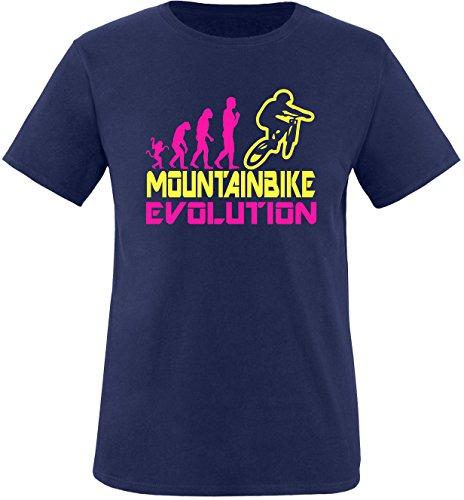 EZYshirt® Mountainbike Evolution Herren Rundhals T-Shirt Navy/Pink/Gelb