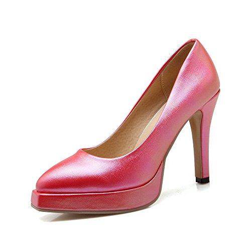 AllhqFashion Femme Matière Souple Pointu à Talon Haut Tire Couleur Unie Chaussures Légeres Rose