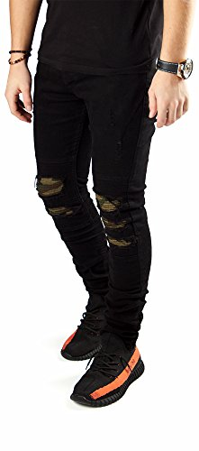 FiveSix Herren Slim-Fit Used-Look Denim Destroyed-Look Zerrissen Löcher Bikerjeans Skinny Jeans Hose mit Stretch Schwarz-4