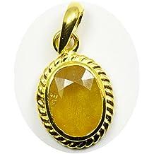 5.25 Ratti Certified Natural Yellow Sapphire Pendant Oval Pokhraj Gemstone Astrological Panchdhatu Locket