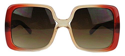 amashades Vintage Classics Übergroße 70er Jahre Retro Sonnenbrille Damen groß rechteckig oversized JK (Amber)