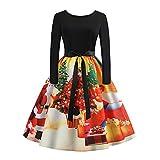 VEMOW Elegantes Design Damen Cocktailkleid Herbst Abendkleid Damen Vintage Kleider Print Langarm Weihnachts Abend Party Swing Kleid 2018(Y1-Gelb, EU-34/CN-M)
