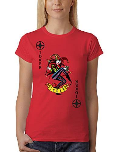 clothinx Damen T-Shirt Fit Karneval & Fasching Spielkarte Joker Kostüm Rot/Bunt Größe ()