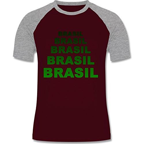 Shirtracer Länder - Brasil Fanshirt - Herren Baseball Shirt Burgundrot/Grau meliert