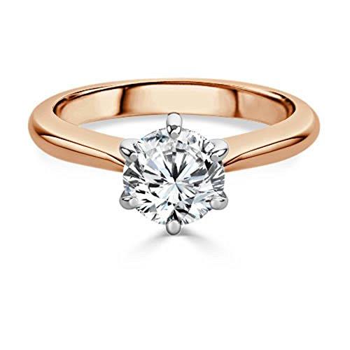 Forever Diamond  -  14K Rose Gold  14 Karat Rotgold Rundschliff   Hochfeines Weiß +/River (D) Diamant - Forever Diamond
