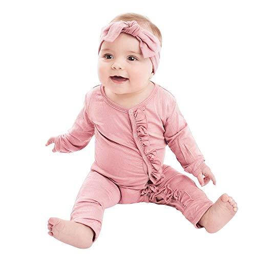 i-uend 2019 Baby Strampler Jumpsuit Sets-Infant Pyjamas Solide Rüschen Strampler Bodysuit Stirnbänder Outfits