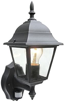 Outdoor 4 Sided Black Wall Lantern Security Light Complete With PIR Motion Sensor Detector IP33 Weatherproof With Lamp