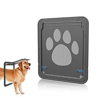 PETCUTE Chien Porte Verrou Automatique pour Animal Domestique d'écran Porte verrouillable Entry Gate pour Medium Grands Chiens et Chats Mignons en Maille Motif