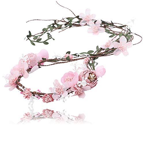 ume Girlande Stirnband - Frauen Mädchen Einstellbare Baum Rattan Blatt Floral Haar Kranz Hochzeit Fotografie Dekoration, Rosa-2, Einheitsgröße ()