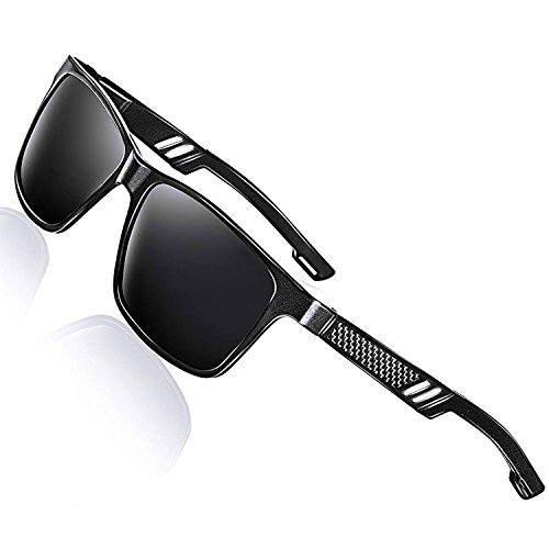 LEDING&BEST Sonnenbrille Metallrahmen für Herren Damen polarisiert,Sport Stil Fahren Brille Shades für Radfahren Baseball-Trekking Sunglasses Sonnenbrillen