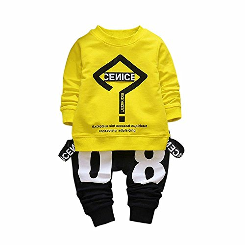 Lylita 2pcs Bimbo bambino neonato vestiti lettera stampa T-Shirt Top + Pantaloni set (3 anno, Giallo)