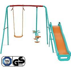 Yorbay Columpio infantil Con balancín Columpio para jardín infantiles exterior, 5 niños pueden jugar puede cargarse hasta ca.135Kg(Columpio 3 en 1 con toboganes)
