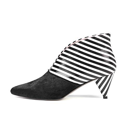 YAN Damen Lederstiefel, Stiefeletten Einzigartige konische Ferse Martin Stiefel Booties/Boho Schuhe/Hochzeitsschuhe für Hochzeit und Abend (Farbe : EIN, Größe : 34) - Ferse Stiefel