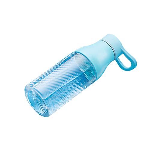 Zhanyi Tragbare Plastikbecher 550ml einfache Hand kreative Wasserflasche für Erwachsene Sportflasche (Farbe : Blau)