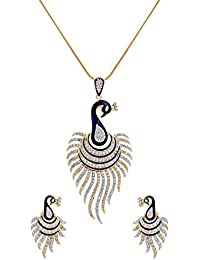 R S Jewels Gold Plated Peacock Designs Pendant Set With Chain For Women