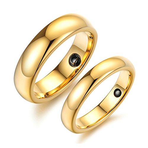 jsfyou placcata oro in carburo di tungsteno pietra magnetica paio anelli di nozze set assistenza sanitaria Jewelry, donne dimensione 11 & uomini dimensione 13,5, colore: Gold, cod.