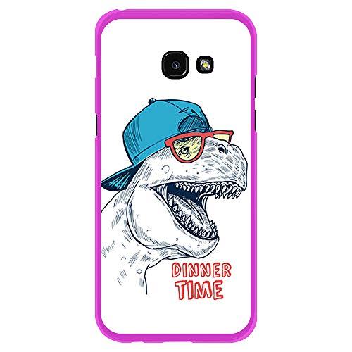 BJJ SHOP Rosa Hülle für [ Samsung Galaxy A5 2017 ], Klar Flexible Silikonhülle, Design: Dinosaurier mit Kappe und Brille, Dinner TIME