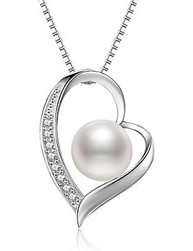 [Gesponsert]J.Vénus Kette Perle Damen 925 Sterling Silber Halskette Schmuck Kette mit Herz Anhänger Liebe Schmucker mit Etu...