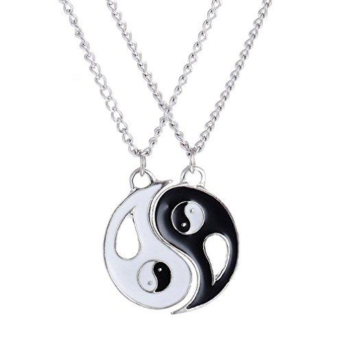 Gudelaa 2 stücke Ying Yang Twins Emoji Symbol Pendent Freundschaft Beste Freund Halsketten Paar Halskette (Freundschaft Halskette Ying Yang)