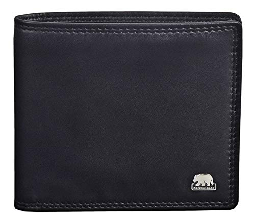 Brown Bear Geldbörse Herren Leder Schwarz RFID Schutz flach ohne Münzfach Doppelnaht hochwertig
