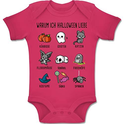 Baby - Warum ich Halloween Liebe - 1-3 Monate - Fuchsia - BZ10 - Baby Body Kurzarm Jungen Mädchen ()