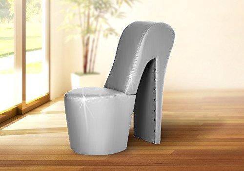 Schuhsessel DESIGNER Sessel - LARA / Silber - High Heel Sessel -