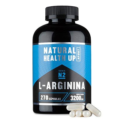 L-arginina para aumentar la fuerza, el vigor y la masa muscular - Suplemento deportivo de arginina para mejorar la circulación sanguínea y el aporte de energía muscular (270 Capsulas)