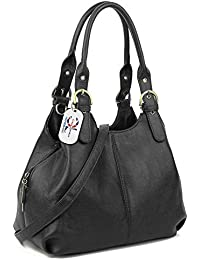 Craze London Multiple Pockets Medium Size Hobo Handbag Long Strap Shoulder Bag Cross body bag for Women