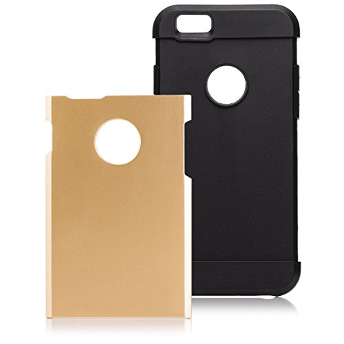 iCues Apple iPhone 6S / 6 |  Ultimate Protection Case Silber | [Display Schutzfolie Inklusive] Outdoor Dickes Hardcase Stoßfest Militär Lifeproof Männer Jungs Schutzhülle Hülle Cover Schutz Ultimate Protection Gold