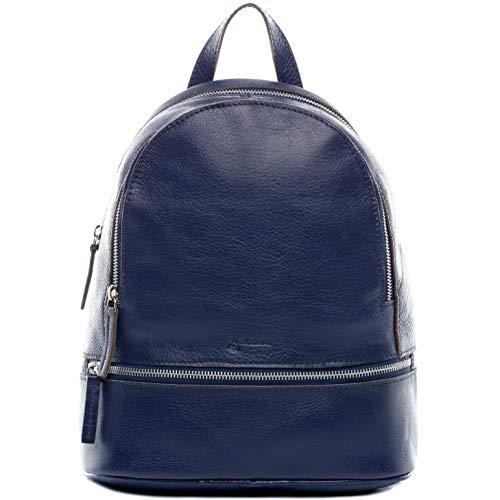 BACCINI Rucksack echt Leder DINA groß Backpack Tagesrucksack Stadtrucksack Lederrucksack Lederrucksack Damen blau