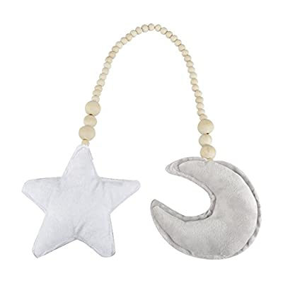 Zerodis Baby Crib Toys Hanging Pendants,Star&Moon Ornaments Wooden Beads String Hanging DIY Ornament for Baby Kids Bed Play Tent Room Decor