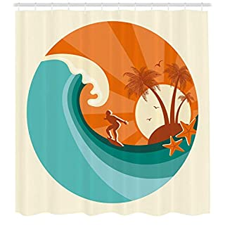 tgyew Ride The Wave Shower Curtain, Retro Man Surfing at Beach Island Coconut Palm Trees Illustration, Fabric Bathroom Decor Set with Hooks, 72x72 inches Extra Wide, Orange Teal Ivory