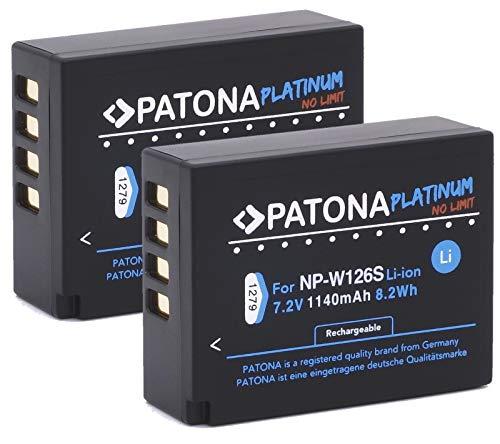 Patona Platinum (2X) Akku für Fujifilm NP-W126 NP-W126s (echte 1140mAh) Fujifilm FinePix HS50EXR HS30EXR HS33EX X100F X-A5 X-A10 X-E3 X-ES2 X-H1 X-M1 X-Pro1 X-Pro2 X-T1 X-T2 X-T3 X-T10 X-T20 X-T100