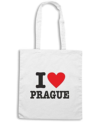T-Shirtshock - Borsa Shopping T0196 I LOVE PRAGUE Bianco