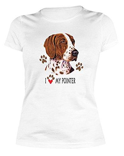 Pointer Hund T-shirt (Pointer Damen T-Shirt - Geschenk Hundefreund Hundebesitzer - Jäger Jagd Hunde Motiv I love my Pointer Gr. XL : ))