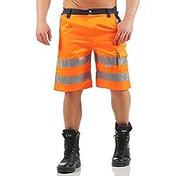 Mivaro Bermuda de Travail pour Homme, Short à Bandes réfléchissantes dans des Couleurs à Haute visibilité, Farbe:Orange, Größe Hosen:3XL