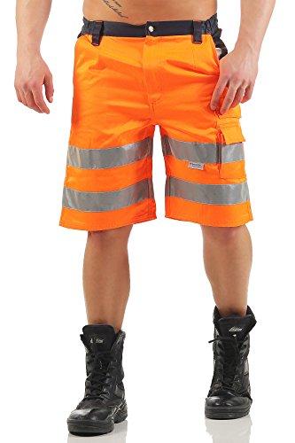 Mivaro Kurze Herren Arbeitshose Shorts mit Reflexstreifen in Signalfarben, Farbe:Orange, Größe Hosen:M - Mann Authentisch Baumwolle
