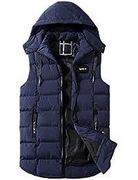 zarupeng Chaleco de invierno de los hombres Chaleco de algodón acolchado Abrigo cálido con capucha Chaleco