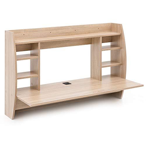 FineBuy Wandtisch 110x75x48,5 cm Sonoma FB14555 Holz Schreibtisch für die Wand | Arbeitstisch mit Kabelloch | Wandschreibtisch mit Regal | PC Ablagetisch Hängend Braun | Schwebe-Schreibtisch Klein -